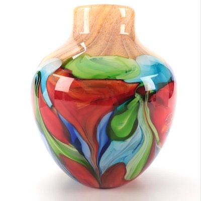 "Hunsberger for Ivy Bronx ""Azaleas"" Art Glass Jug Vase"