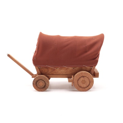 Ribbed Fabric Covered Wooden Wagon Table Lamp