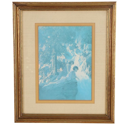 """Offset Lithograph after Maxfield Parrish """"The Waterfall,"""" Late 20th Century"""