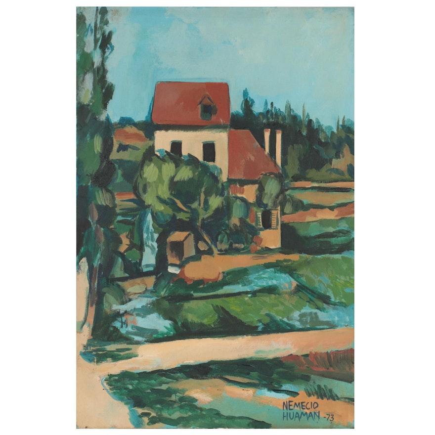 Nemecio Huaman Landscape Oil Painting, 1973