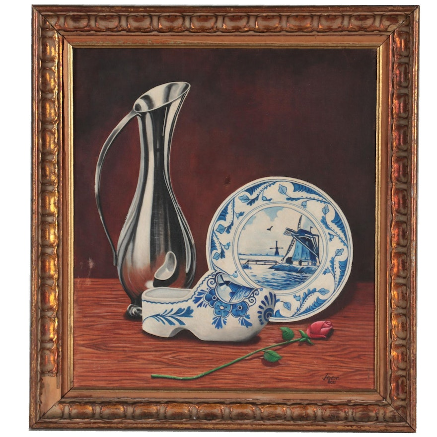 """Edgar Jeter Sill Life Oil Painting """"Mildred,"""" 1971"""