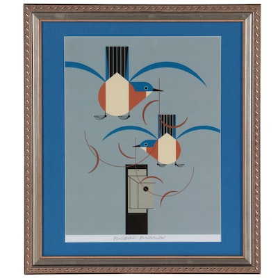 """Offset Lithograph After Charley Harper """"Bluebird Bungalow,"""" 21st Century"""