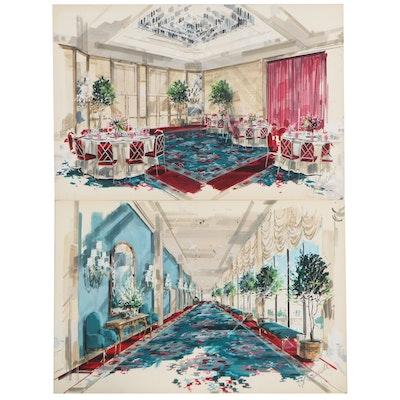 Interior Acrylic Illustrations of Dinning Hall and Elegant Hallway