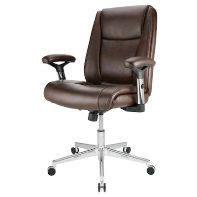 """Realspace """"Densey"""" Brown Bonded Leather Mid-Back Manager's Chair"""