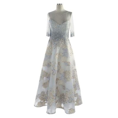 Teri Jon Beaded Metallic Jacquard Gown with Elbow-Length Sleeves