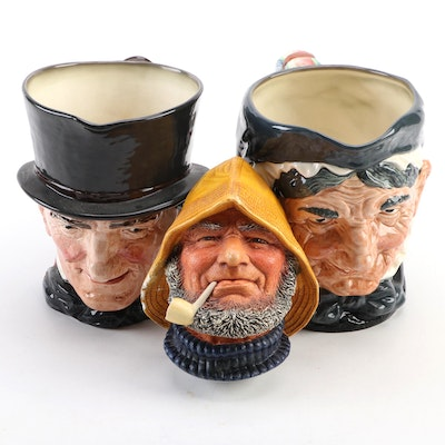 """Royal Doulton """"Granny"""" and """"John Peel"""" Ceramic Jugs with """"Old Salt"""" Plaque"""