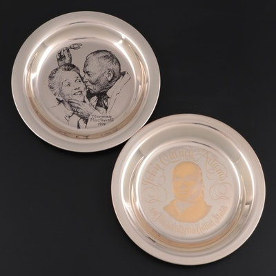 Franklin Mint Sterling Silver Norman Rockwell Plate with John Quincy Adams Plate