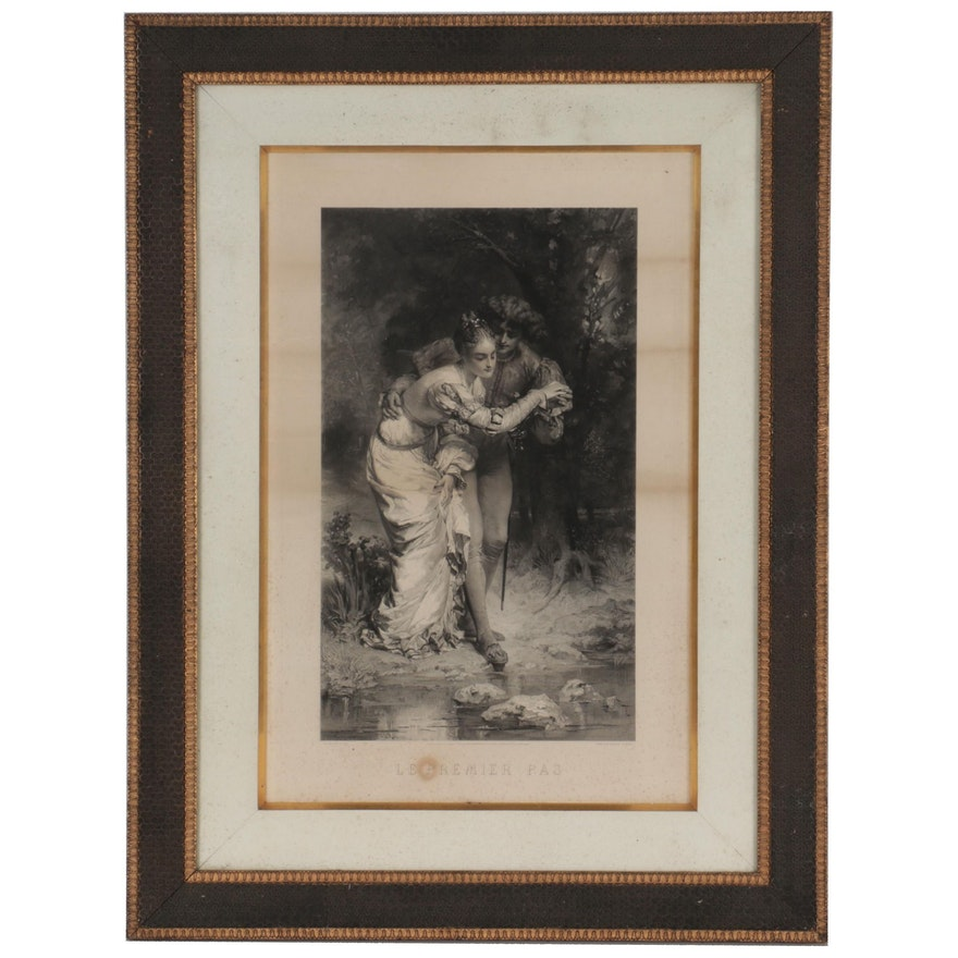 "Engraving after Hermann Eichen and Anatole Vély ""Le Premier Pas"""