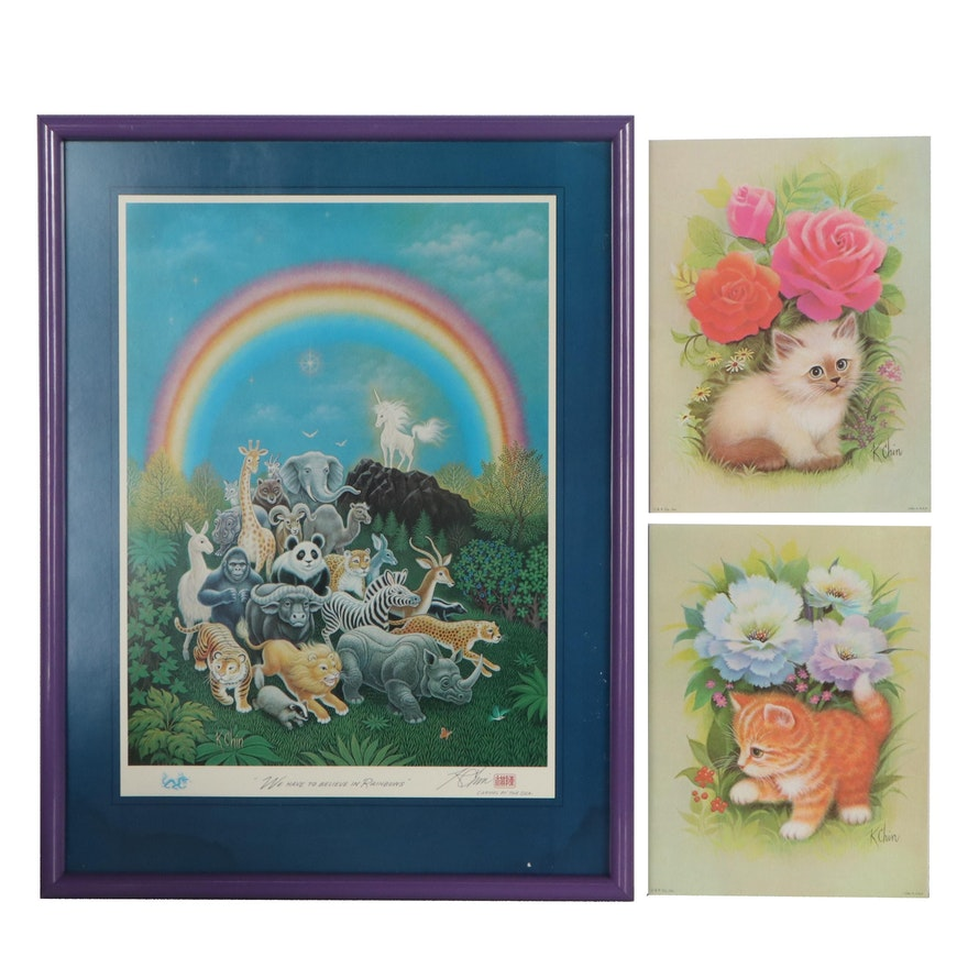 """K. Chin Offset Lithograph """"We Have to Believe in Rainbow"""" and More"""