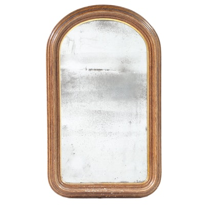 Parcel Gilt Grain Painted Domed Wall Mirror, Mid to Late 19th Century