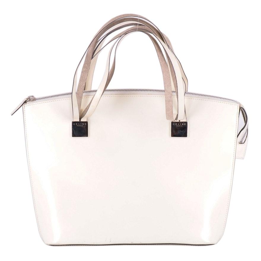 Céline Shoulder Bag in White Smooth Leather