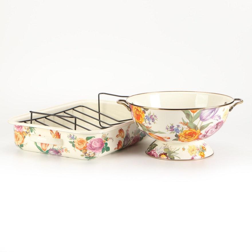 "MacKenzie-Childs ""Flower Market"" Roasting Pan and Centerpiece Bowl"