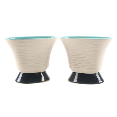 Pair of McCoy Pottery Textured Fan Planters, Mid-20th Century