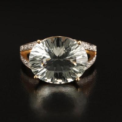 10K Prasiolite and Diamond Ring