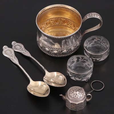Towle Sterling Silver Handled Cup and Other Sterling Tableware