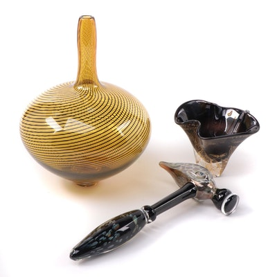 Rod Sounik Handblown Studio Art Glass Vase with Other Art Glass