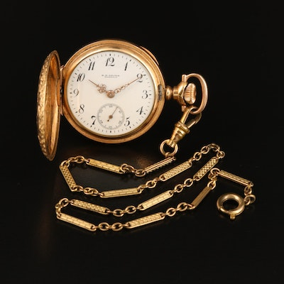 B.H. Broer Toledo O. Gold Filled Pocket Watch with Chain Fob
