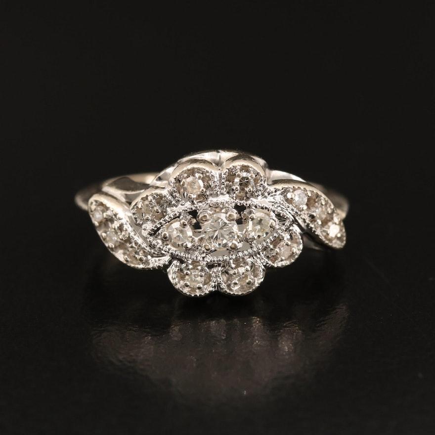 Vintage Lovebright 14K Diamond Scalloped Ring with Milgrain