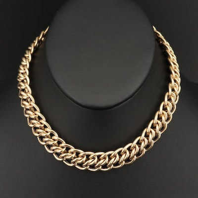 14K Double Curb Link Necklace