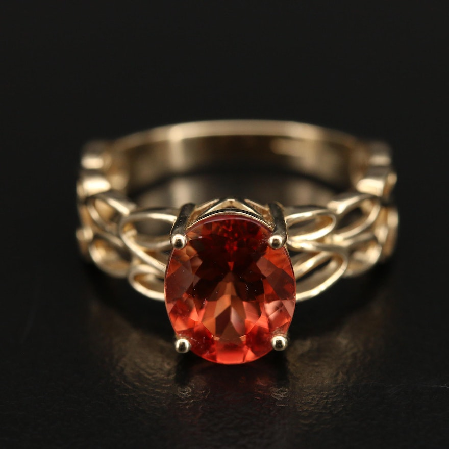 10K Orthoclase Ring with Openwork Shoulders
