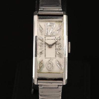 1938 Longines Platinum Stem Wind Wristwatch