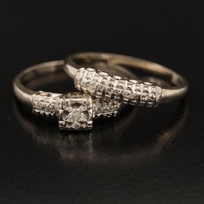 Vintage 14K Diamond Ring and Band Set