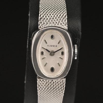 Vintage Timex Chrome Plated Stem Wind Wristwatch