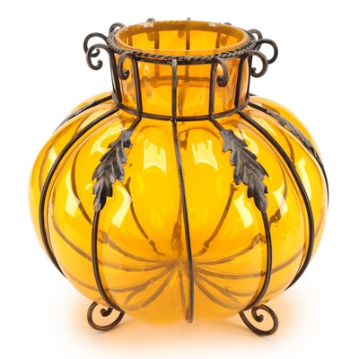 Caged Amber Glass Pumpkin Vase