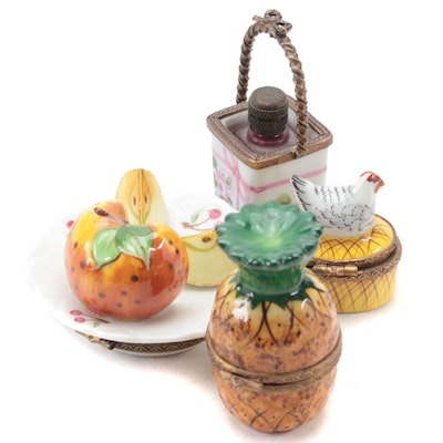 Rochard Pineapple Form and Other Porcelain Limoges Boxes