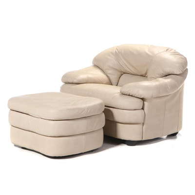 Italian Leather Lounge Chair and Ottoman
