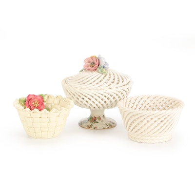 """Erphila """"Cheery Chintz"""" Pierced Ceramic Compote with Other Ceramic Baskets"""