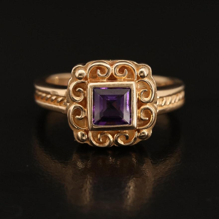 14K Bezel Set Amethyst Scrollwork Solitaire Ring