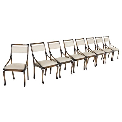 Eight Espresso Finish Slope-Arm Dining Chairs