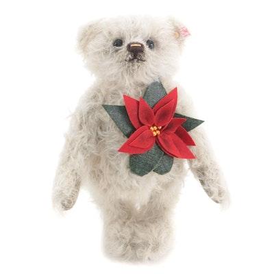 """Steiff """"Poinsettia"""" Mohair Limited Edition Teddy Bear with COA in Packaging"""