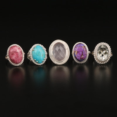 Sterling Rings Featuring Prasiolite, Rose Quartz and Turquoise