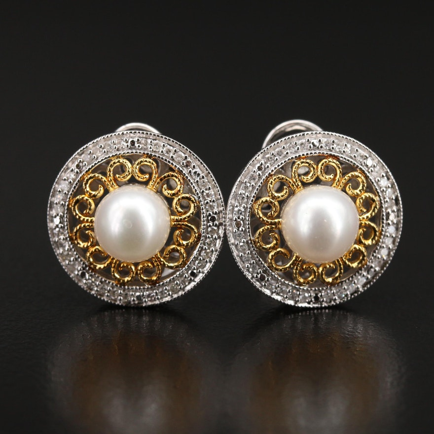 Sterling Pearl and Diamond Halo Earrings