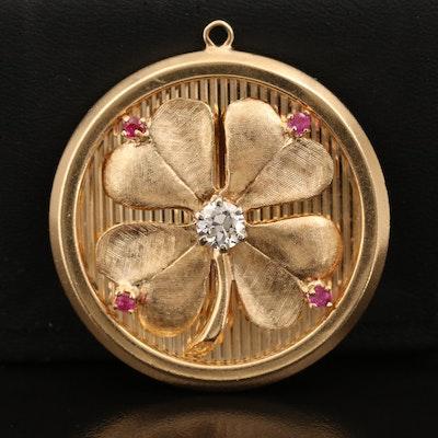 1960s 14K Diamond and Ruby Lucky Four Leaf Clover Pendant