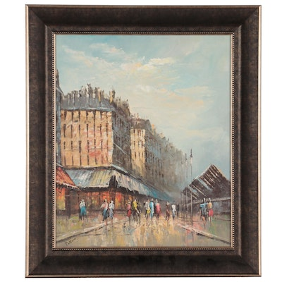 Impressionist Style Landscape Oil Painting of Street Scene, Late 20th Century