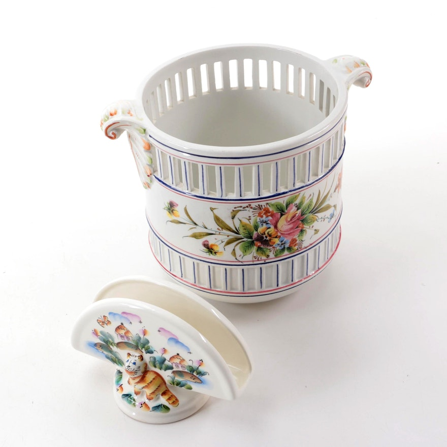 Hand-Painted Italian Pierced Ceramic Cache Pot and Russian Ceramic Napkin Holder