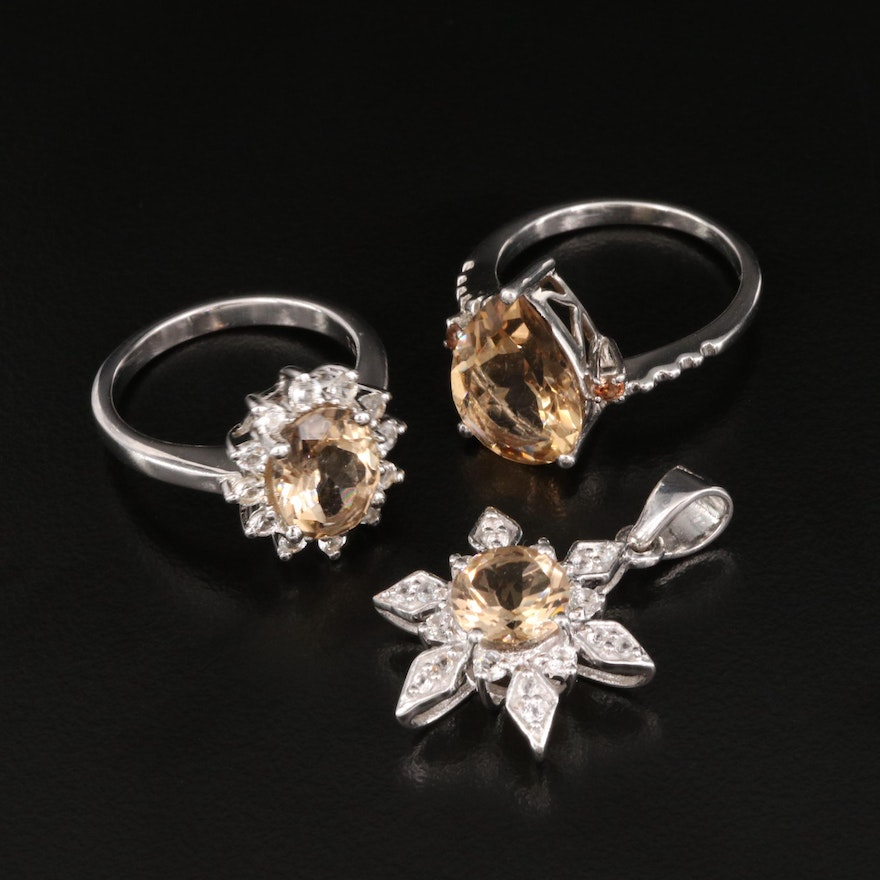 Sterling Silver Citrine and Sapphire Rings and Pendant