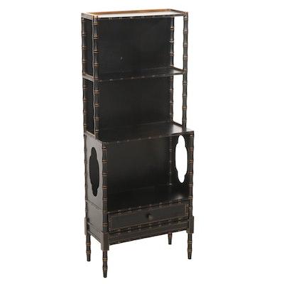 Chelsea House Ebonized and Parcel-Gilt Wood Faux Bamboo Bookcase