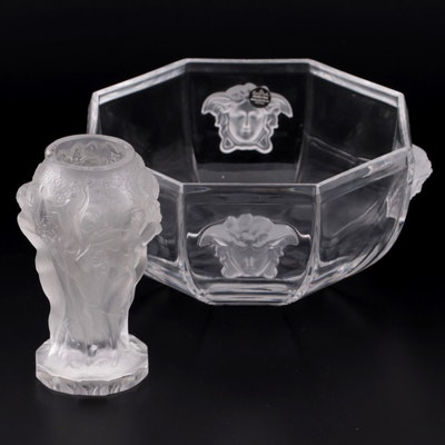 """Versace for Rosenthal """"Medusa """"Lumiere"""" Bowl with Frosted Glass Bud Vase"""