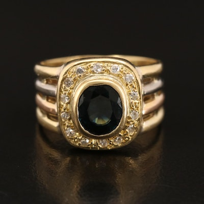 18K 1.44 CT Sapphire and Diamond Ring with Tri-Colored Shank
