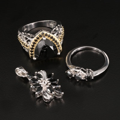 Sterling Silver Diamond and Black Onyx Rings and Pendant