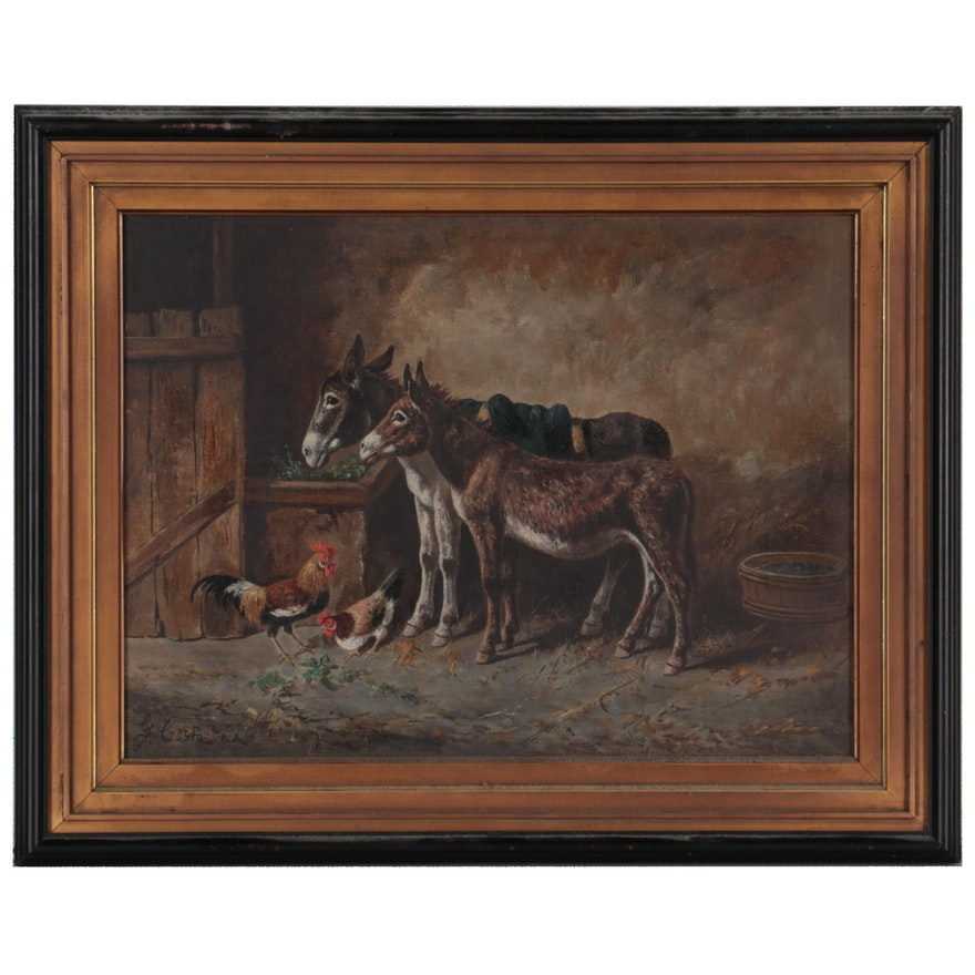 G. Costa Oil Painting of Donkeys, Late 19th Century