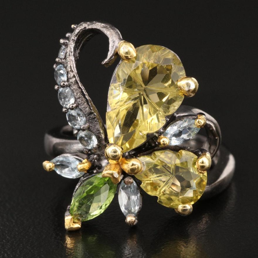 Sterling Silver Topaz, Citrine and Quartz Flower Ring