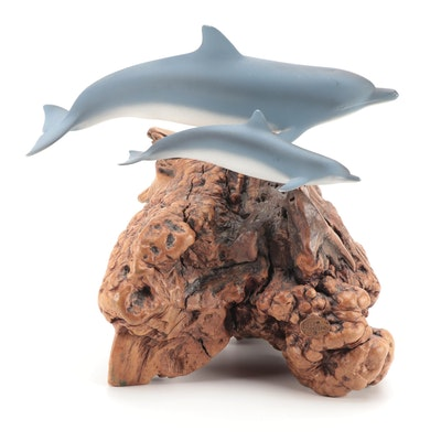 John Perry Studio Dolphins Sculpture on Burl Wood