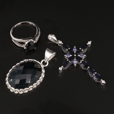 Sterling Ring and Pendants Featuring Iolite, Black Onyx and Quartz Over Jasper