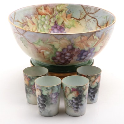 Ohio Federation of China Decorators Hand-Painted Porcelain Punch Bowl and Cups