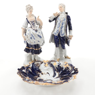 Meissen Porcelain Cobalt and Gilt Bowl with Other Rococo Style Figurines